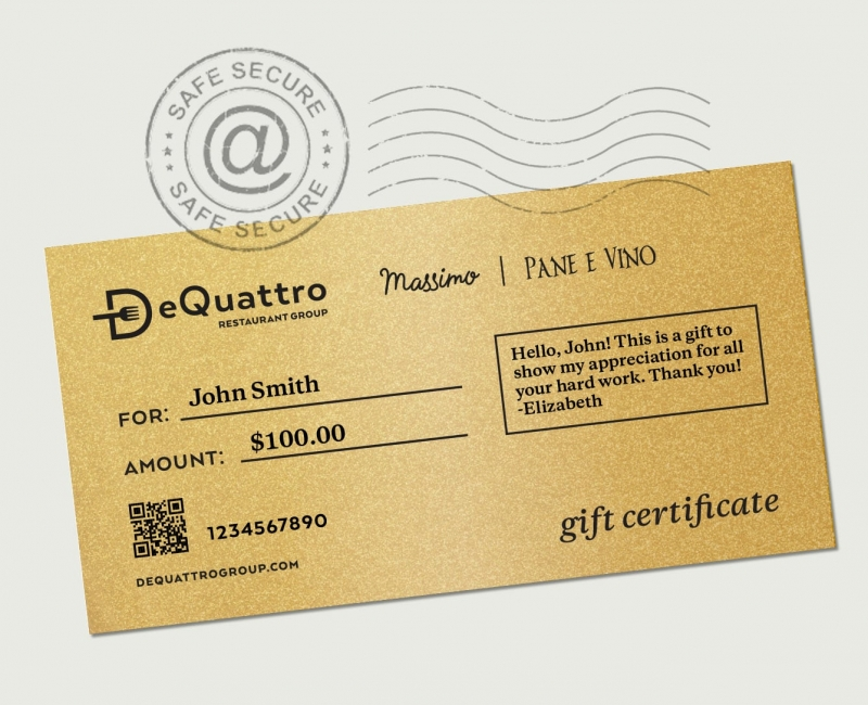 DeQuattro Group gift certificate